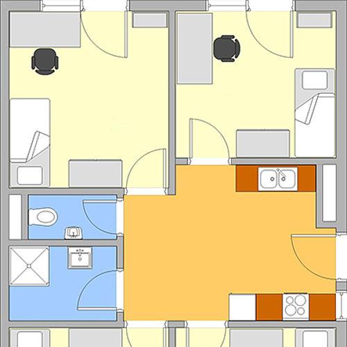 Grundriss 4er-WG 3. Obergeschoss