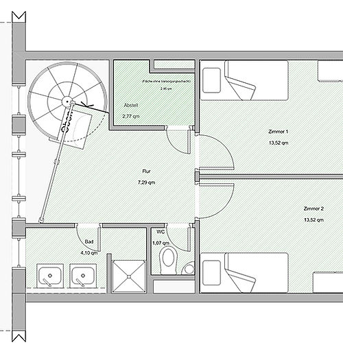 Ground plan 4-bed shared apartment