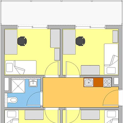 Grundriss 4er-WG Dachgeschoss
